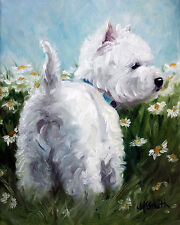 WESTIE PICKING DAISIES GARDEN FLAG FREE SHIP USA RESCUE