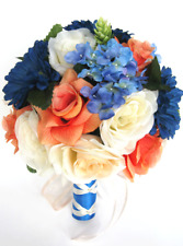 17 pc package Wedding Bouquets Bridal Silk Flower ROYAL Blue DAISY CORAL Orange