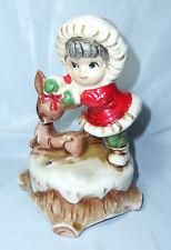 "VINTAGE 6"" White Christmas Wind-up Musical Ceramic Figurine Santa Girl & Fawn"