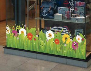Wild Grass with Flowers and Insects Spring / Summer Window Border Cling Sticker
