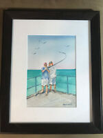"David Smith ""Fishing Scene"" Watercolor Painting -  Signed And Framed"