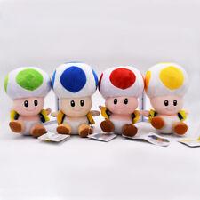 "4PCS/SET Mario Bros Red Green Blue Yellow Mushroom Toad Plush Toys 7"" 18cm"