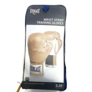 Everlast Unisex Wrist Strap Bag Training Gloves Size 12 Ounces Gold Mitt Work