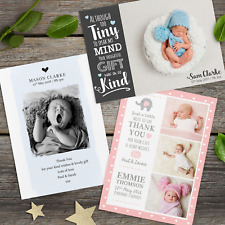 Personalised Photo Thank You Cards ~ Baby Boy or Girl / Birthday / Christening