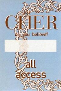 CHER 1999 DO YOU BELIEVE? TOUR BLUE ALL ACCESS BACKSTAGE PASS / NEAR MINT