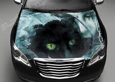 Black Cat Girl Full Color Graphics Adhesive Vinyl Sticker Fit any Car Hood #051