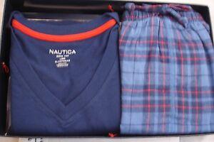 NAUTICA Pajamas SS V Neck 2 Pc Set Blue Flannel Bottom Cotton Poly Mens Sz L