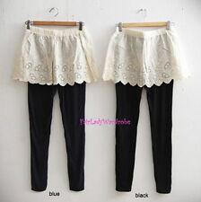 Japan 2in1 Eyelet Lace mini Slip Skirt Over Knit Leggings! Black