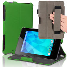Slim Hard Back Leather Case Smart Cover w/ Hand Strap For Google Nexus 7 Green