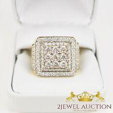 14K Yellow Gold 3.Carat Round Diamond Men's Pinky Wedding Band Engagement Ring