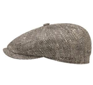 STETSON GERMANY Hatteras 61cm Flat Cap 7 5/8 8/4 Newsboy Brown Virgin Wool/silk