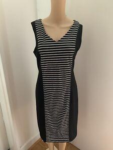 LIZ JORDAN Women Pre-owned B&W Stripes Corporate Summer Shift Dress S 12