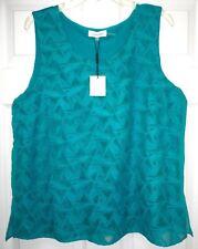 CALVIN KLEIN Womens Sleeveless Sheer Lined Embroidered Shirt Top Teal Blue XL