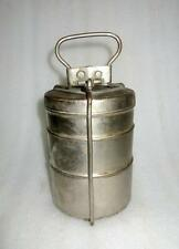 Vintage Old Collectible Brass Handcrafted 3 Compartment Tiffin Lunch Box India