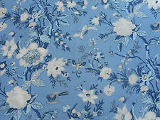 Thibaut Fabric 'Nemour' Blue 3.3 METRES (330cm) Linen Blend - Enchantment Coll
