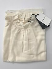 Women's Who What Wear Top Blouse Cream Crinkle Sheer Ruffle Trim Large