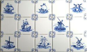 "Blue Nautical Delft Design Ship Windmill Set of 16 of 4.25"" Ceramic Tiles"