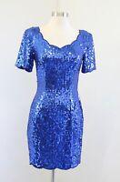 Vtg 90s Niteline Blue Scalloped Trim Short Sleeve Cocktail Party Dress Size 4