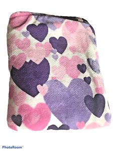 HD Designs Blanket Throw 50X70 Hearts Purples Pinks White