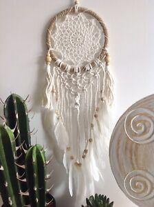 16.5cm x 60cm Rattan and Macrame Dream Catcher with Cream Crochet & Rope Tassels