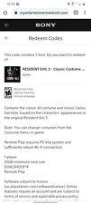 Resident Evil 3 Classic Costume Pack Pre-Order Bonus Playstation 4 PS4