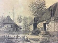 Normandie ferme chaume chaumière XIXe  Philippet 1882 Toit de chaume France