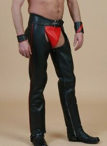 Men's Real Leather Bikers Chaps With Side Stripes&C.Piece Available In 4 Colors
