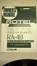 Rotel RA-413 AMPLIFICATORE STEREO INTEGRATO Proprietari Manuale