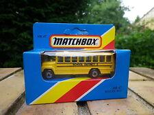 MATCHBOX LESNEY 1981 MB 47 SCHOOL BUS DISTRICT 2 jaune état Neuf boite scellée