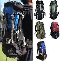 90L Large Hiking Outdoor Camping Sport Backpack Bag Internal Frame Camo Red Blue