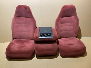 92-96 FORD F150 F250 BUCKET SEATS 40/20/40 JUMP SEAT CENTER CONSOLE RED OEM