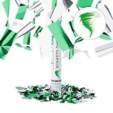 Relaxdays Cañón de confeti verde y plateado 5x5x40 cm