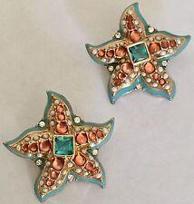 Kenneth Lane Starfish Earrings Seed Pearl Enamel Gold Turquoise Orange Vintage