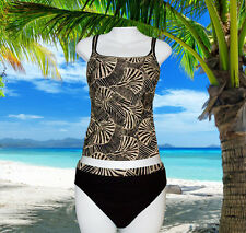NEW GOTTEX NEUTRAL TROPICAL brown taupe TANKINI BATHING SWIMSUIT SET SIZE 8