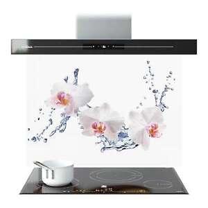 Splashback Glass Kitchen Tile Cooker Panel ANY SIZE White Orchid Flower 9084