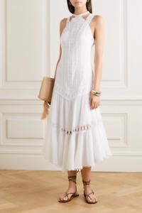CHARO RUIZ Analia White Crocheted lace-trimmed cotton-blend voile midi dress NWT