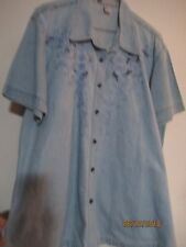 Passion Cotton Denim Short Sleevew/ Embroidered Front Shirt - Large