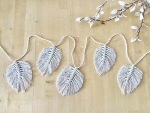Macrame Feather Bunting Leaf Garland Boho Decor Wall Hanging Tapestry