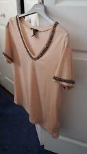 H&M blush pink linen beaded v neck tee size S