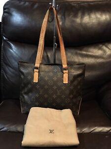 Authentic LOUIS VUITTON Cabas Mezzo Shoulder Tote Bag Monogram W/dust Bag DU0032