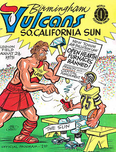 1975 BIRMINGHAM VULCANS vs SO. CALIFORNIA SUN WFL  Football Program