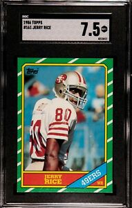 1986 TOPPS JERRY RICE ROOKIE CARD #161 SAN FRANCISCO 49ERS SGC 7.5=NEAR MINT+!!!