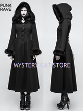 New PUNK RAVE Gothic Victorian Winter Warm Worsted Black Coat Y-796 FAST POSTAGE
