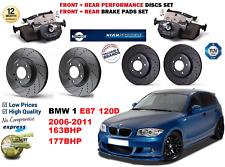 Para BMW 120D E87 2006-2011 Delantero Trasero Rendimiento Perforado Discos De Freno + Kit de almohadillas