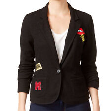 Freshman Juniors' Patch Knit Blazer, Jet Black