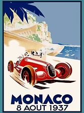 1937 Monaco French Grand Prix Art Automobile Race Advertisement Vintage Poster