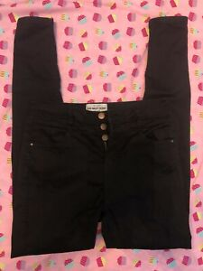 New Look; UK 12/L34, Black High Waist Skinny Jeans
