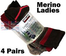 4 Pairs Merino Wool Socks Work, Walking, Hiking, Ladies / Womens Size 3-8 Browns