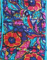 """Vintage Honey Silk Scarf Oblong 10"""" x 52"""" Stained Glass Look Floral Teal Red"""