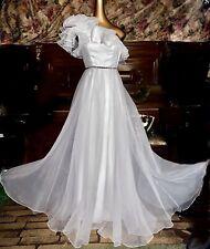 Jewel Rhinestone Vintage Gala Mod Sexy Maxi Chiffon Empire Ballgown Dress 2 XS